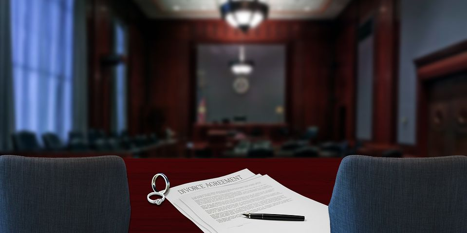 divorce papers inside the court room