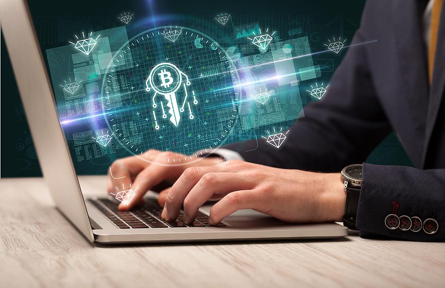 Blockchain development Sydney professional working on his laptop