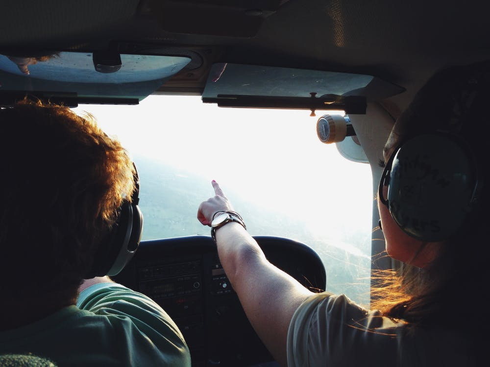 Man acquiring helicopter licence by training